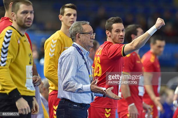 Macedonia's head coach Lino Cervar gestures during the 25th IHF Men's World Championship 2017 Group B handball match Macedonia vs Iceland on January...