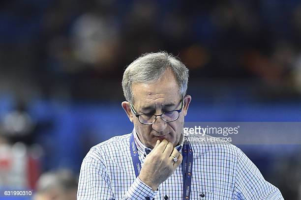 Macedonia's head coach Lino Cervar is pictured prior to the 25th IHF Men's World Championship 2017 Group B handball match Macedonia vs Spain on...