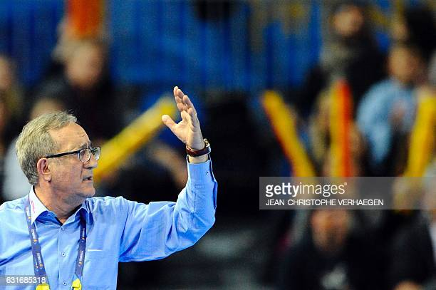 Macedonia's head coach Lino Cervar reacts during the 25th IHF Men's World Championship 2017 Group B handball match Angola vs Macedonia on January 14...
