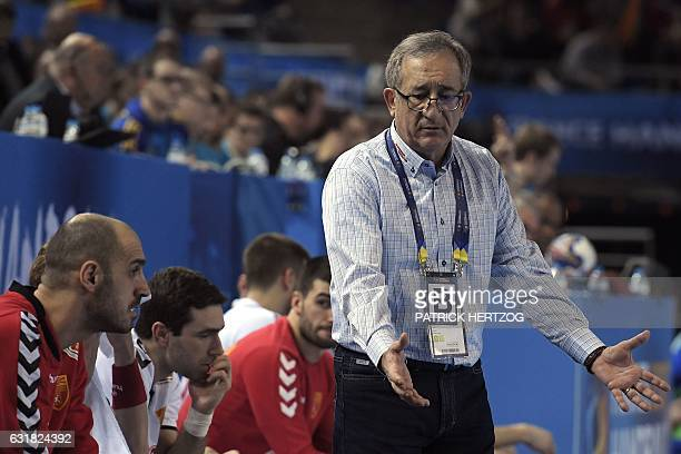 Macedonia's head coach Lino Cervar reacts during the 25th IHF Men's World Championship 2017 Group B handball match Slovenia vs Macedonia on January...