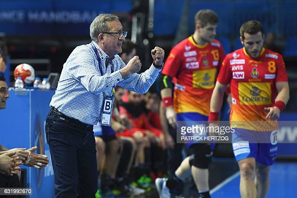 Macedonia's head coach Lino Cervar shouts instructions during the 25th IHF Men's World Championship 2017 Group B handball match Macedonia vs Spain on...