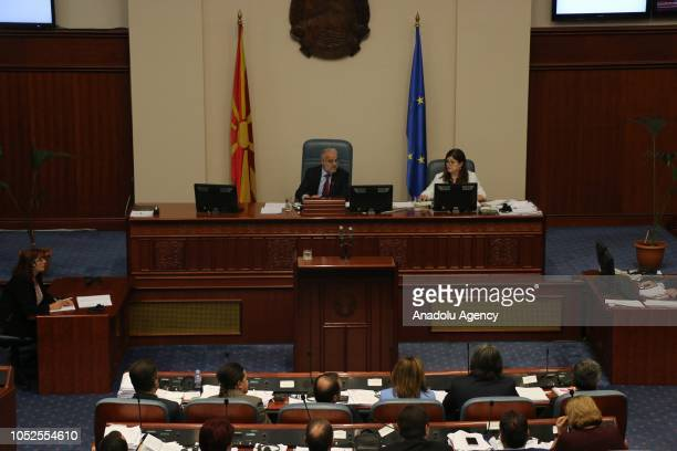 Macedonia's members of parliament vote to start changing constitutional amendments to rename the country North Macedonia during parliamentary session...