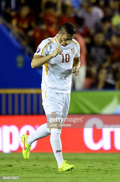 Macedonia's midfielder Agim Ibraimi celebrates after scoring during the UEFA Euro 2016 group D qualifying football match Spain vs Macedonia at the...