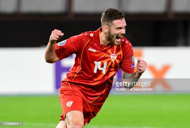 Macedonia's midfielder Darko Velkoski celebrates after scoring a goal during the UEFA Euro 2020 Playoff Semi-Final football match between North...