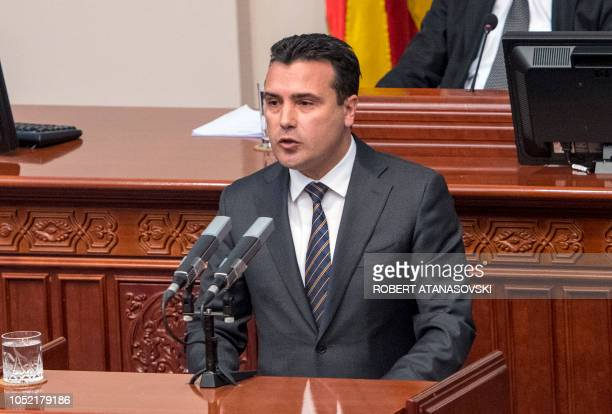 Macedonia's Prime Minister Zoram Zaev give a speacks before parliament in Skopje on October 15 2018 during the opening of a debate on whether to...