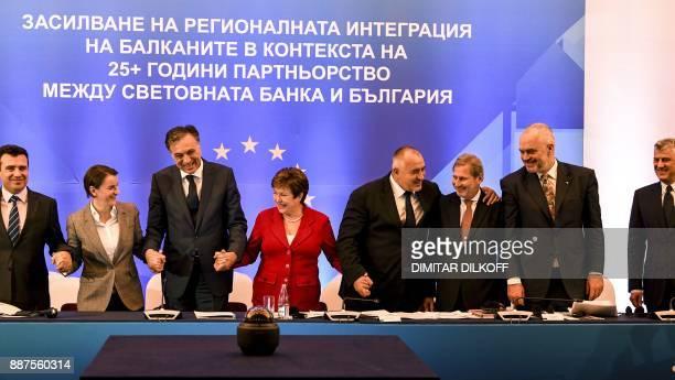 Macedonia's Prime Minister Zoran Zaev Serbia's Prime Minister Ana Brnabic Montenegro's President Filip Vujanovic Chief Executive Officer of the World...