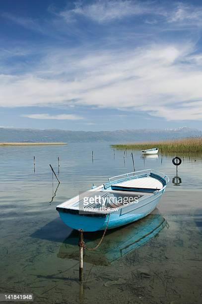 macedonia-struga: rental boats on lake ohrid - lake ohrid stock photos and pictures