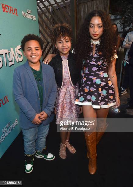 Maceo Smedley Leah Rose Randall and Kiana Lede' attend a screening of Netflix's 'All About The Washingtons' at Madera Kitchen Bar on August 8 2018 in...