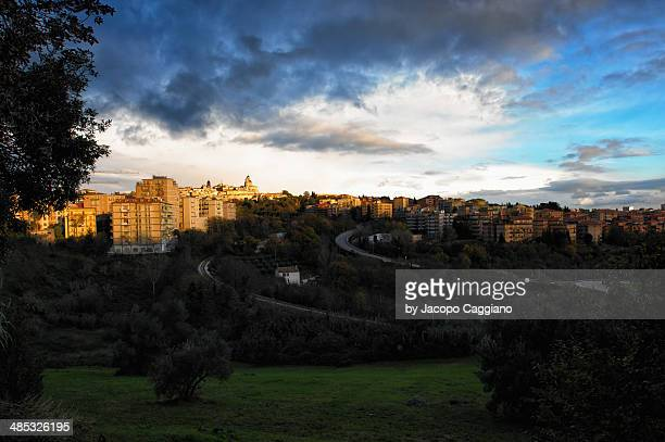 macerata city at sundown - jacopo caggiano stock pictures, royalty-free photos & images