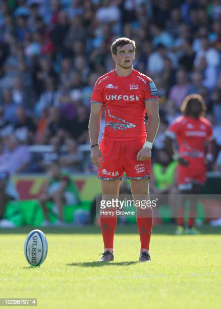 MacGinty of Sale Sharks during the Gallagher Premiership Rugby match between Harlequins and Sale Sharks at Twickenham Stoop on September 1 2018 in...