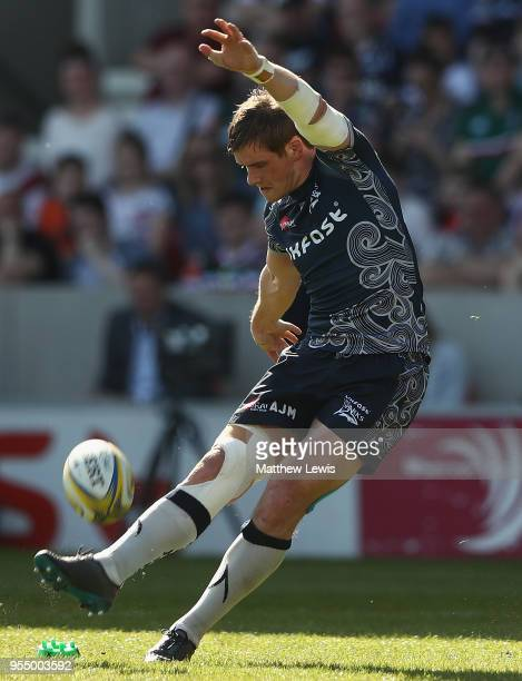 MacGinty of Sale Sharks kicks a penalty during the Aviva Premiership match between Sale Sharks and Leicester Tigers at AJ Bell Stadium on May 5 2018...