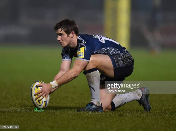 MacGinty of Sale Sharks lines up a kick during the Aviva Premiership match between Sale Sharks and Bath Rugby at AJ Bell Stadium on December 23 2017...