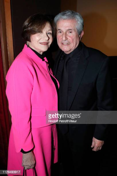 """Macha Meril and Claude Lelouch attend Claude Lelouch receives the Insignia of Officer of the Legion of Honor at """"Club 13"""" on February 13, 2019 in..."""
