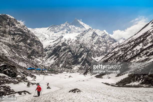 machapuchare base camp, nepal. - machapuchare stock photos and pictures