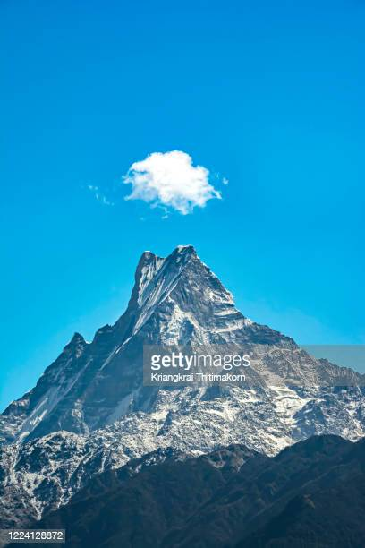 machapuchare mountain in nepal. - annapurna south stock pictures, royalty-free photos & images