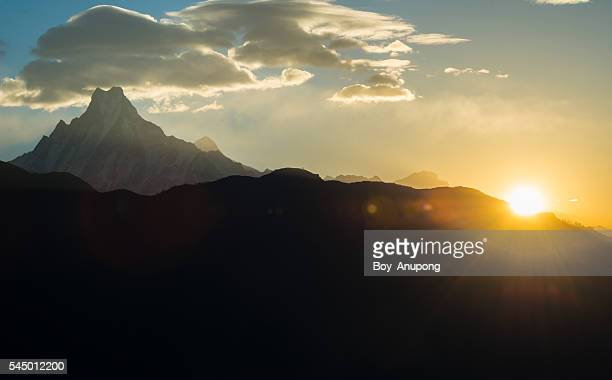 Machapuchare mountain with the sunrise.