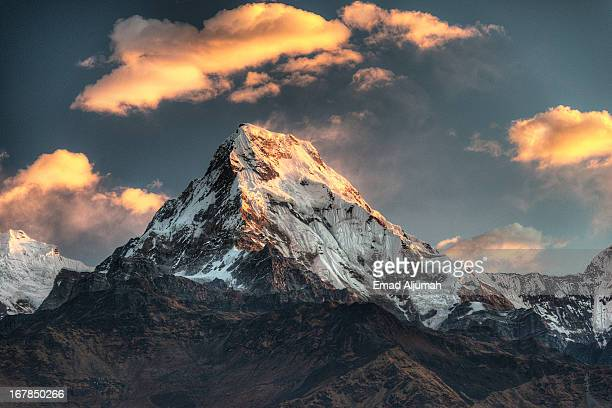 machapuchare, nepal - machapuchare stock photos and pictures