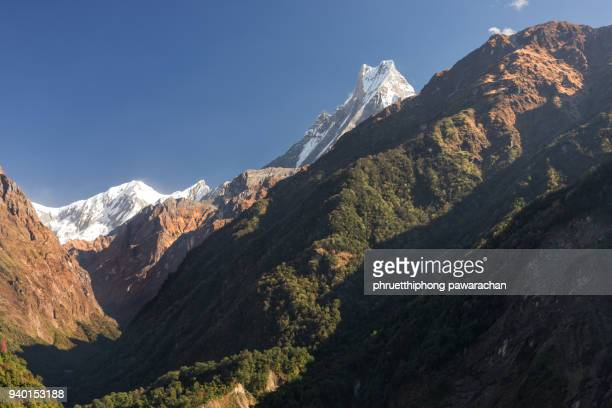 Machapuchare peak during trekking way to Annapurna Base Camp.