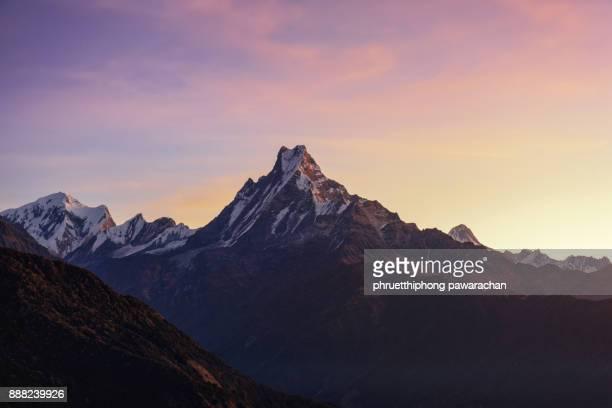 Machapuchare peak when sunrise.