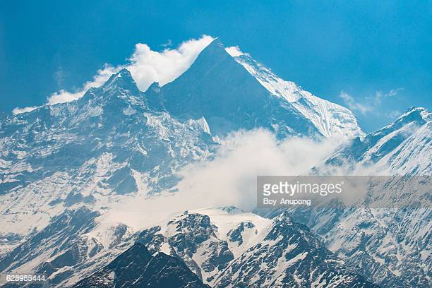 Machapuchare the holy mountain in Annapurna region, Nepal.