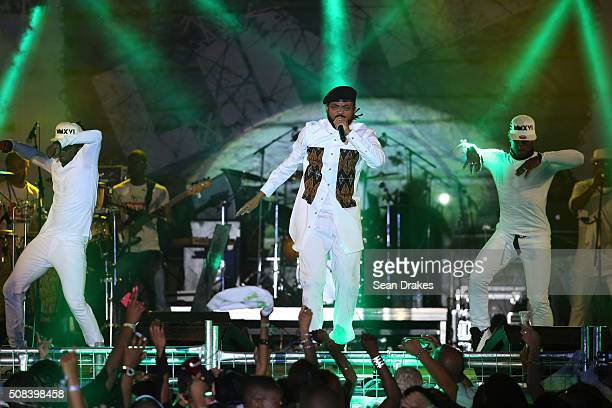 Machel Montano performs during the Hyatt LIME fete at Hyatt Regency Trinidad as part of Trinidad and Tobago Carnival on February 03 2016 in Port of...