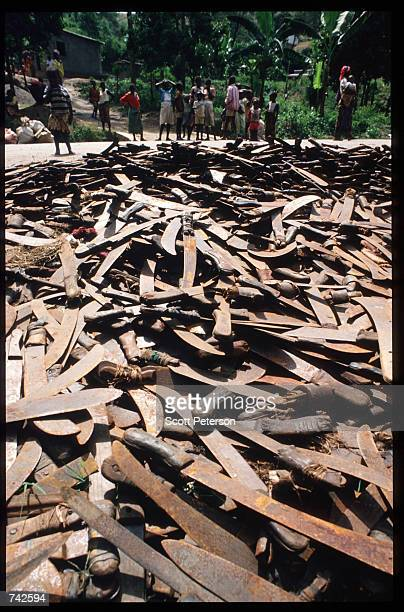 Machetes are discarded that were used to kill Tutsis May 25 1994 in Rwanda Following the assassination of President Juvenal Habyarimana in April 1994...