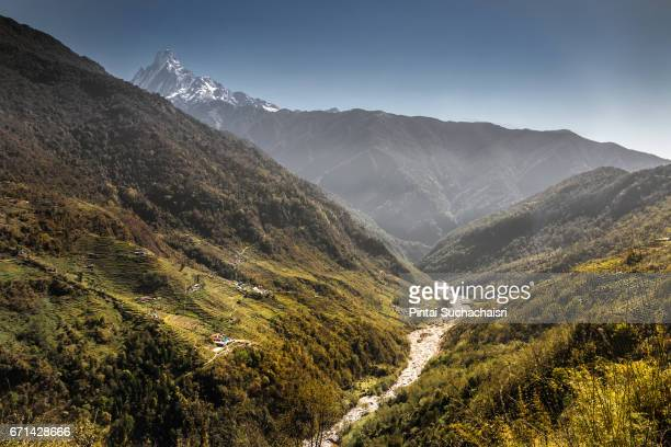 Machhapuchhre Peak View Over Valley and River Near Ghorepani, Nepal