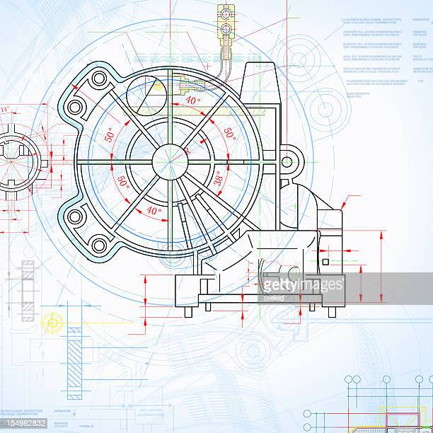 Machine Blueprint Outline Design Paperwork Document