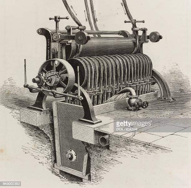 Machine for bleaching rags gathered in the form of ropes produced by Mather Platt Manchester United Kingdom illustration from L'Industria Rivista...