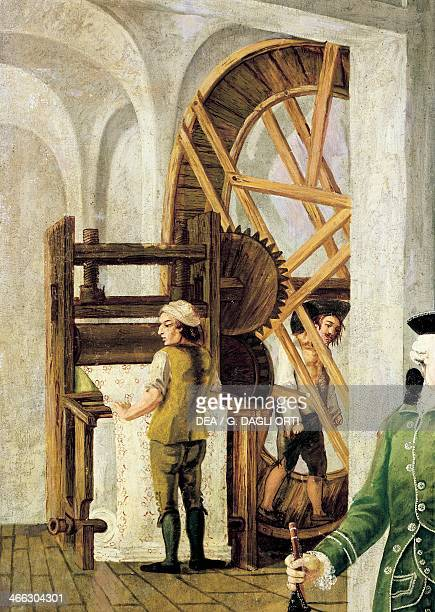 Machine for printing the fabric detail from a painting by Mary Gabriel Rossetti dedicated to the Wetter textile factory in Orange oil on canvas...