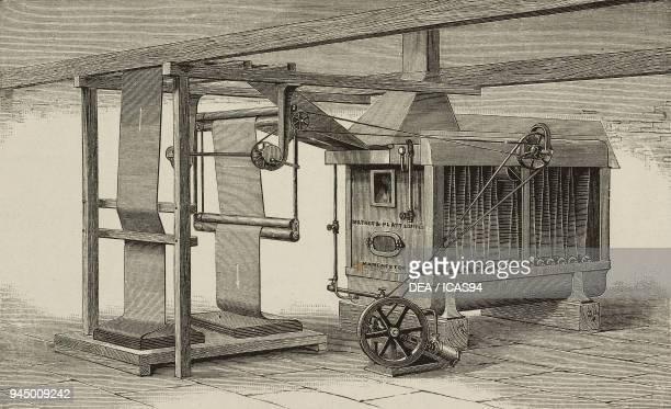 Machine for steaming fabrics produced by Mather Platt Manchester United Kingdom illustration from L'Industria Rivista tecnica ed economica illustrata...