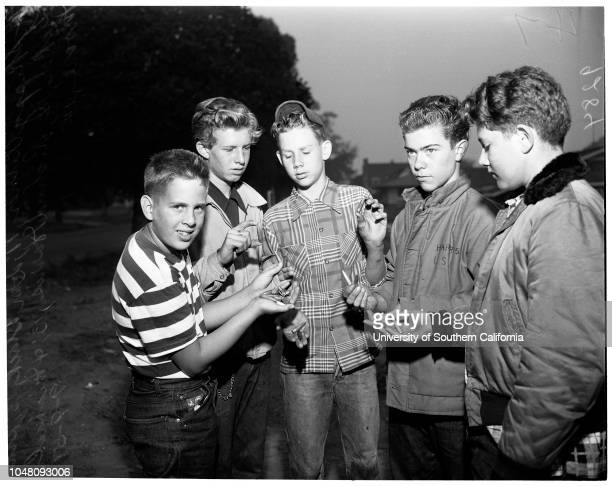 Machine gun bullets hit Long Beach homes, 9 September 1951. Skippy Titner -- 11 years;Don Black -- 13 years;Stan Luker -- 14 years;Richard Harris --...