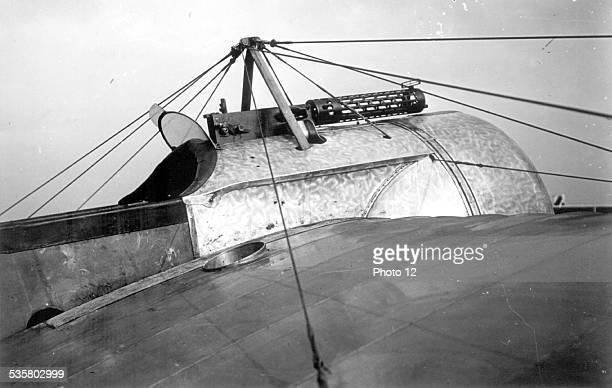 Machine gun installed on a Fokker airplane World War I