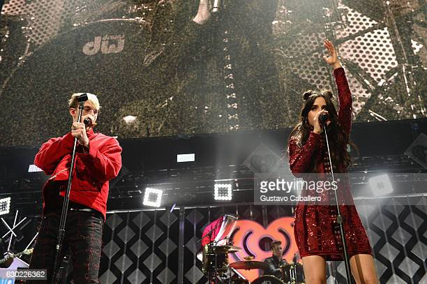 Machine Gun Kelly and Camila Cabello of Fifth Harmony perform at the Y100's Jingle Ball 2016 at BBT Center on December 18 2016 in Sunrise Florida