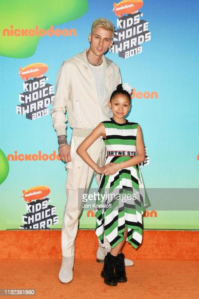 Machine Gun Kelly and Casie Colson Baker attends Nickelodeon's 2019 Kids' Choice Awards at Galen Center on March 23 2019 in Los Angeles California