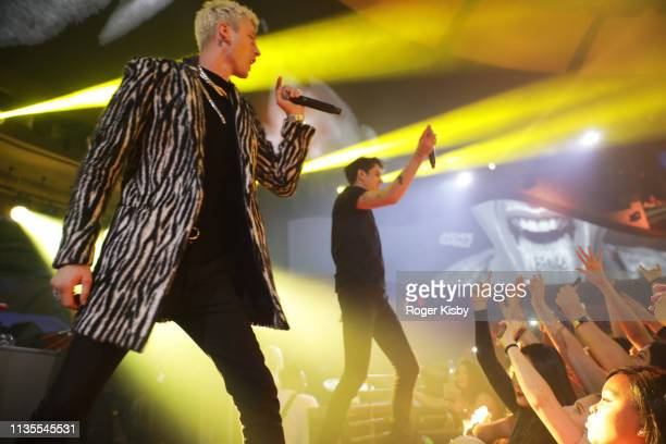 Machine Gun Kelly and GEazy perform at the Night Two At Palms Casino Resort's KAOS Dayclub Nightclub With Cardi B GEazy J Balvin For Grand Opening...