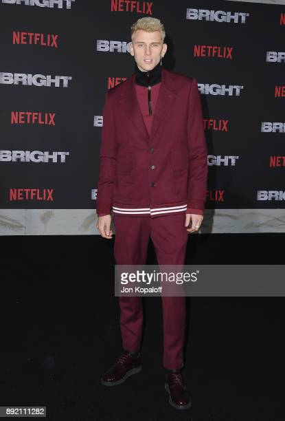 Machine Gun Kelly attends the premiere of Netflix's 'Bright' at Regency Village Theatre on December 13 2017 in Westwood California