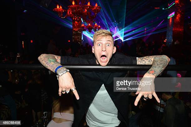 Machine Gun Kelly during the 10th anniversary celebration at TAO Las Vegas at the Venetian Hotel and Casino on September 19 2015 in Las Vegas Nevada