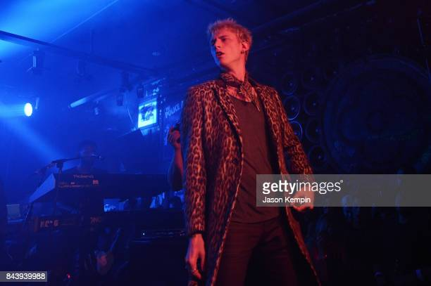 Machine Gun Kelly performs onstage at the John Varvatos x MGK Fashion Week Concert at John Varvatos 315 Bowery Boutique on September 7 2017 in New...