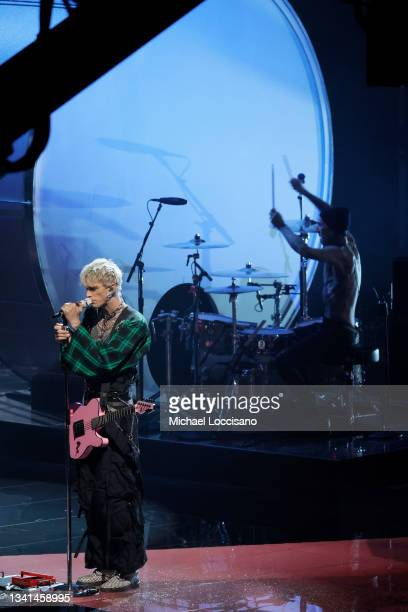 Machine Gun Kelly performs onstage during the 2021 MTV Video Music Awards at Barclays Center on September 12, 2021 in the Brooklyn borough of New...
