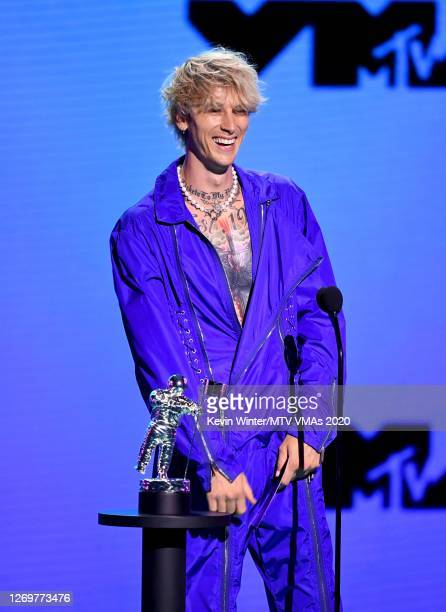Machine Gun Kelly speaks onstage during the 2020 MTV Video Music Awards broadcast on Sunday August 30th 2020