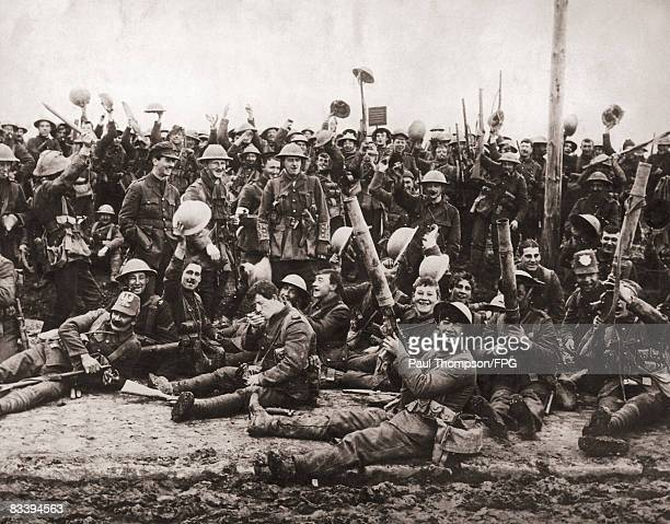 A machine gun regiment of the Royal Northumberland Fusiliers after the World War I Battle of St Eloi just south of Ypres April 1916 They are using...