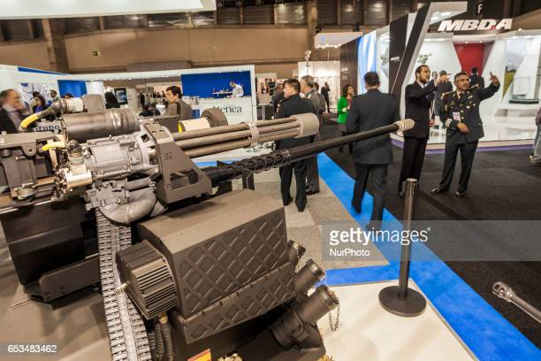Machine guns in the International security fair HOMSEC in Madrid Spain on March 14 2017