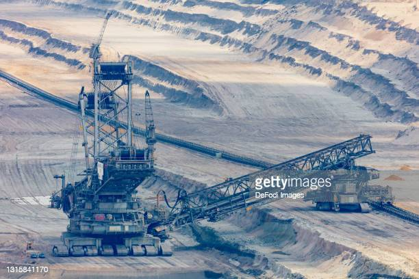 Machine in the open pit mining on May 01, 2021 in Niederzier, Germany.