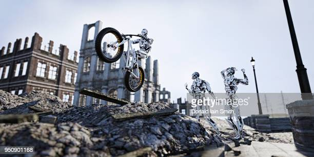 Machine learning concept: robot learns to ride bicycle in ruined city after the apocalypse