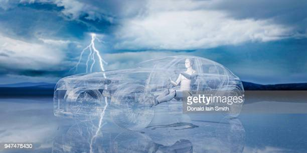Machine learning: robot learns to drive car rendered in glass with lightning storm