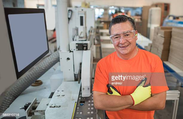 Machine operator at a wood factory