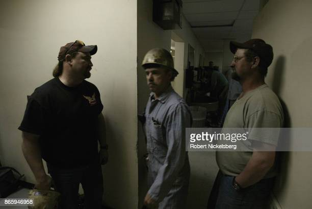 Machine operators mingle in the locker room after a 12hour day at the Buckskin Coal Mine in Gillette Wyoming May 5 2004 Owned by the Kiewit...
