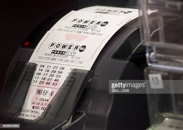 A machine prints Powerball lottery tickets at a convenience store in Washington DC January 7 2016 Lottery officials predict Saturday's jackpot will...