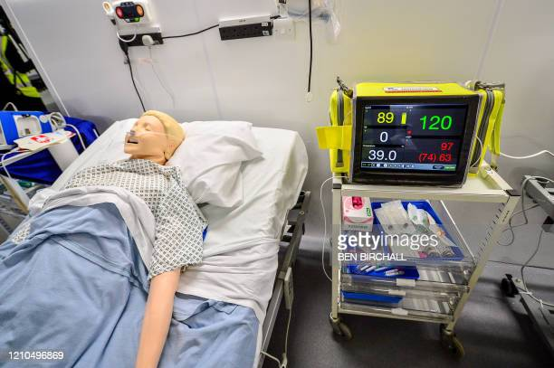 Machine simulating vital signs of a deteriorating patient is used inside a ward during the official opening of the new Dragon's Heart Hospital, built...